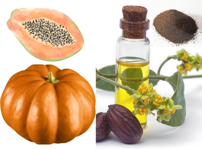 Pumpkin,Jojoba oil, Coffee grounds mask